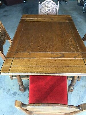 Antique Dining Table with Four Dining Chairs and Red Seats Pre Mid Century