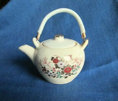 Vintage Satsuma Miniature Teapot with Wrapped Wooden Handle - Made in Japan