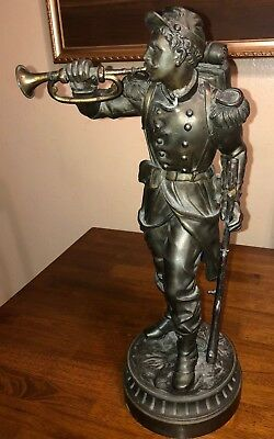 Antique 21 Inch Tall Bronze Metal Civil War Union General Bugler Statue (As Is!)