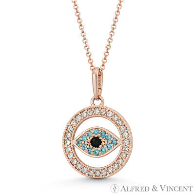 Evil Eye Turkish Nazar Greek Luck Charm 18x12mm 14k Rose Gold CZ Crystal Pendant