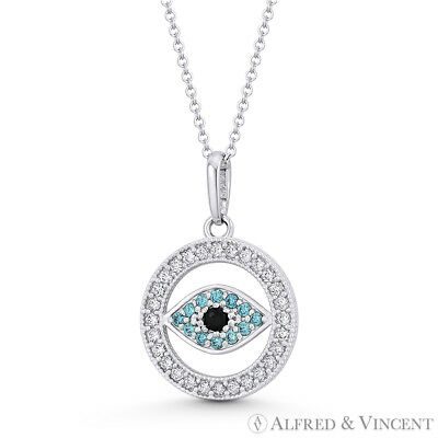 Evil Eye Turkish Greek Luck Charm 18mmx12mm CZ Crystal Pendant in 14k White Gold