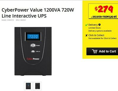 Battery Backup / Surge protector CyberPower Line Interactive Ups 1200Va