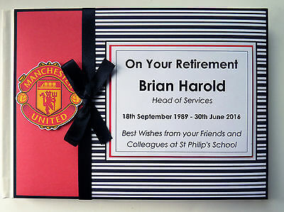 Personalised Man United Retirement/wedding/gift Guest Book - Any Colour