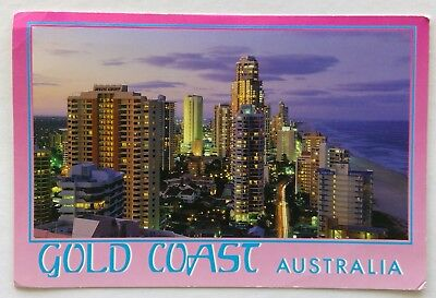 Surfers Paradise Lights at Dusk Gold Coast Australia 1990's Postcard (P335)