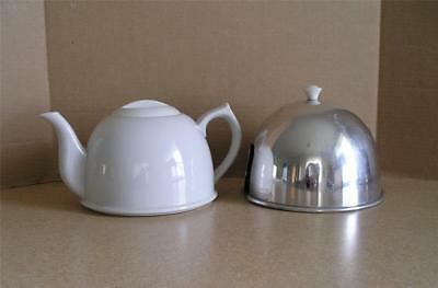 Vintage White Ceramic Teapot with Fabric Lined Aluminum Cozy Made in Japan