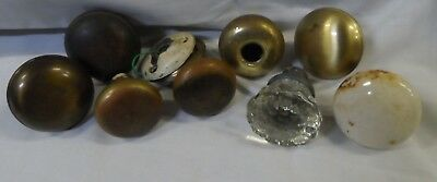 Lot Of 8 Vtg Antique Door Knobs Porcelain Glass Brass Salvage Hardware Parts