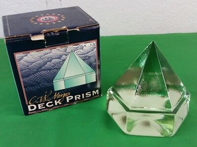 "VTG Charles W. Morgan Deck Prism Reproduction - 4 1/2"" Hand Poured Green Glass"
