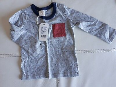 Seed Heritage Baby Grey With Red Pocket Longsleeved Tshirt Size 12-18 Months New