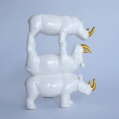 GILLIE AND MARC. Direct from artists. Ceramic Sculpture White Rhino Gold Horn