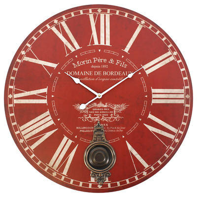 58cm Large Vintage Red Morin Pere & Fils Wall Clock with Moving Pendulum Bronze