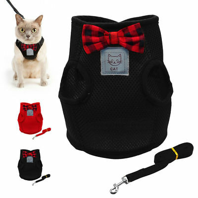 Breathable Mesh Small Dog Cat Harness Vest and Lead Adjustable Cat Harness S-L