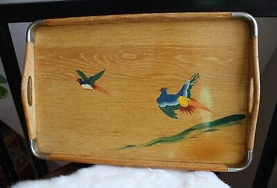 Vintage Wood Serving Tray with Metal Corners, Hand Painted Birds Scene Boho Deco