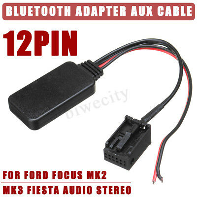 12Pin Bluetooth Adapter Aux Cable For Ford Focus Mk1 Mk2 MK3 Fiesta Audio Stereo