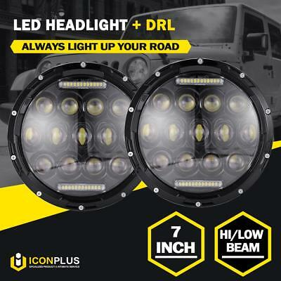 Pair 7 inch CREE LED Headlights High Low DRL For Jeep Wrangler JK JKU TJ CJ LJ