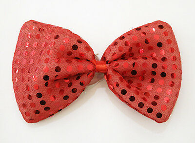 Red Clown Joker Large Glitter Sparkly Sequin Costumes Fancy Dress Bow Tie