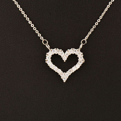 White Gold Plated Open Heart Necklace With Crystals In A Velvet Gift Pouch