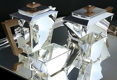 Pure Art Deco Sterling silver tea and coffee set service Charles S. Green 1934