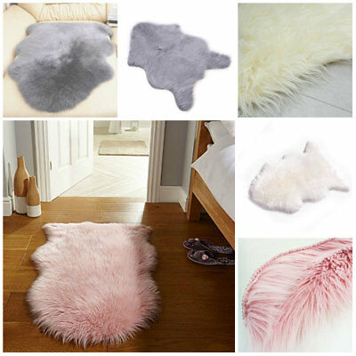 Variety of Fluffy Soft Faux Fur Fake Wool Sheepskin Rugs Warm With Carpet Tape