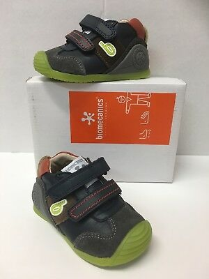 182151 Biomecanics Infant Boys Closed Toe Sandals in Grey with Red