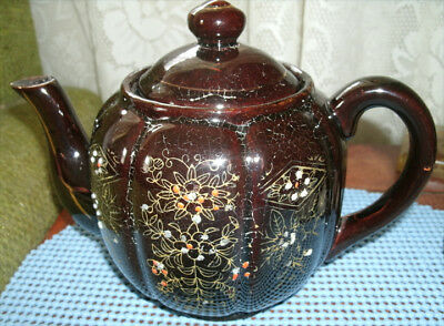 Brown pottery Japanese painted Teapot