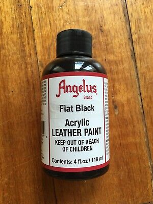 Flat Black Angelus Leather Acrylic Paint 118ml/4oz Bottle