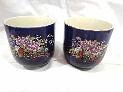 vintage Kutani tea cups,cobalt blue floral,set of 2