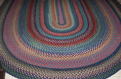 "Vintage Large Antique Handmade Oval Wool Braided Rug 10'2""X7'5"" Very Colorful"