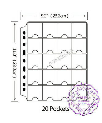 PCCB 20 Pockets Transparent Coin Album Insert Page Sheets Pack of 10