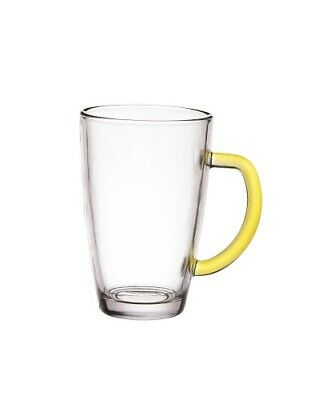 Set Of 6 Latte Cafe Glasses 300 ml With Yellow Handles