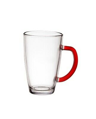 Set Of 6 Latte Cafe Glasses 300 ml With Red Handles