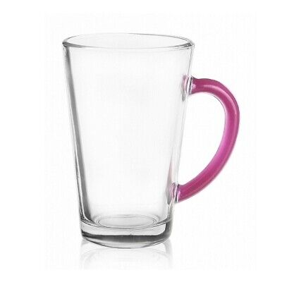 Set Of 6 Latte Cafe Glasses 300 ml With Pink Handles