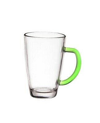 Set Of 6 Latte Cafe Glasses 300 ml With Green Handles