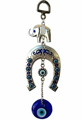Blue Evil Eye with Elephant and Horse Shoe Hanging for Protection With a