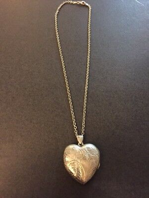 Antique Sterling Silver Heat Carved Photo Locket Pendant Necklace