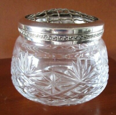 Vintage Thomas Webb Crystal Rose Bowl Silver Plated Greek Key  Frog  England