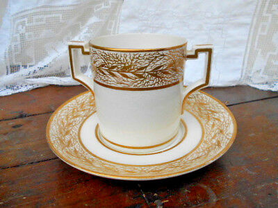 GEORGIAN DERBY PORCELAIN WORKS HP GOLD GILT LEAF LOVING CUP & SAUCER #561 c.1782