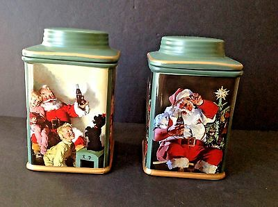 Set of 2 Coca Cola 2002 Coke Holiday Portraits Green Stoneware Canisters #493769