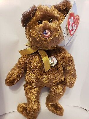 Ty Beanie Baby Champion The Beanie Baby Brown Bear 2002 FIFA Worlds Cup 78e570bb68ad