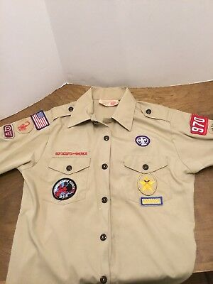 Boy Scout Youth Official BSA Shorts Sleeve Uniform Shirt Youth LG 14-16 Vintage