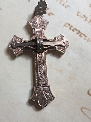 Vintage Antique Engraved Gold Cross Crucifix Jewelry Pendant Gothic Byzantine