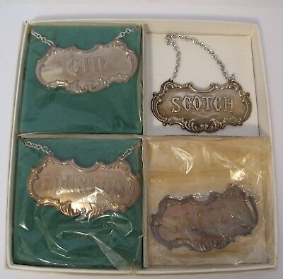 FOUR VINTAGE GORHAM STERLING DECANTER LABELS Scotch,Brandy,GIN, BOURBON in BOX