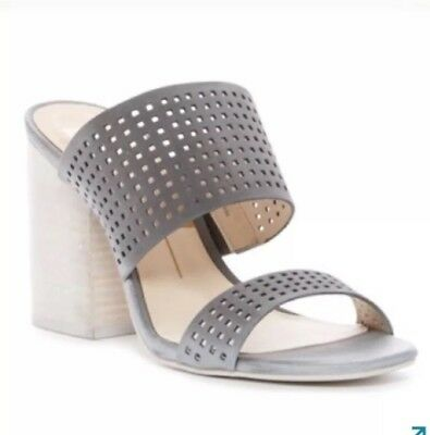 a0dc4626756 Dolce Vita Women s Esme Grey Smoke Block Heeled Perforated Mule Sandals  NWOB 7