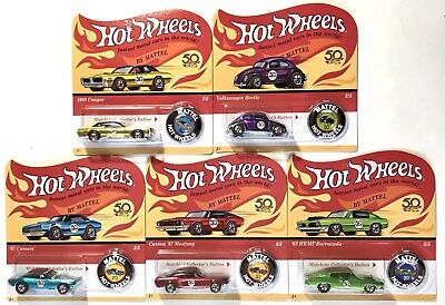 Hot Wheels 2018 Original Redlines Complete Set of 5 Unpunched 50th Anniversary