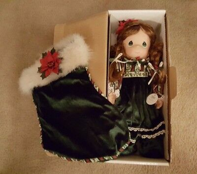 "2004 Precious Moments ""Belle"" 12th Edition Christmas Doll & Stocking Set in Box"