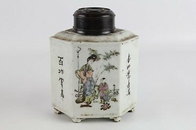 Old Chinese Famille Rose Porcelain Tea Caddy