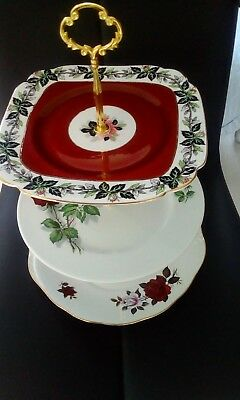 vintage 3 tier roses themed mix match cake stand (colclough+windsor+barker)