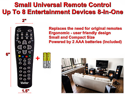 VIVITAR Small Universal Remote Control Up To 8 Entertainment Devices 8 In One