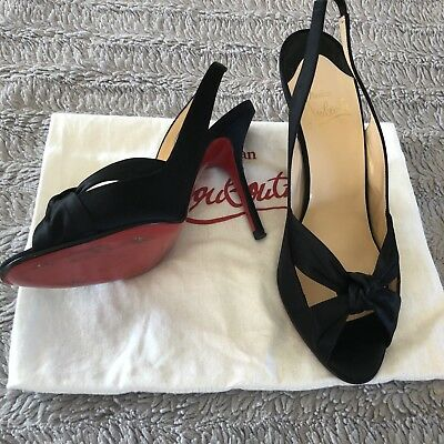 online store f9053 8a954 CHRISTIAN LOUBOUTIN BLACK Satin Evening Shoes Red Soles Size 39.5 Red Soles