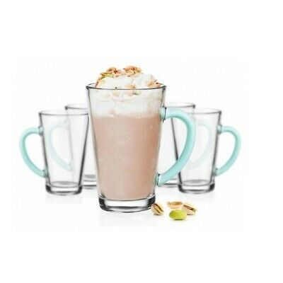 Set Of 6 Latte Cafe Glasses 300 ml With Mint Handles