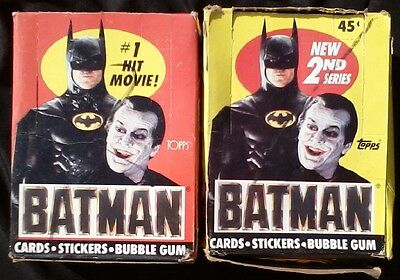 1989 Topps Series 1 & 2 Batman Shrink-Wrapped Wax Boxes 36 Packs ea = 72 Packs